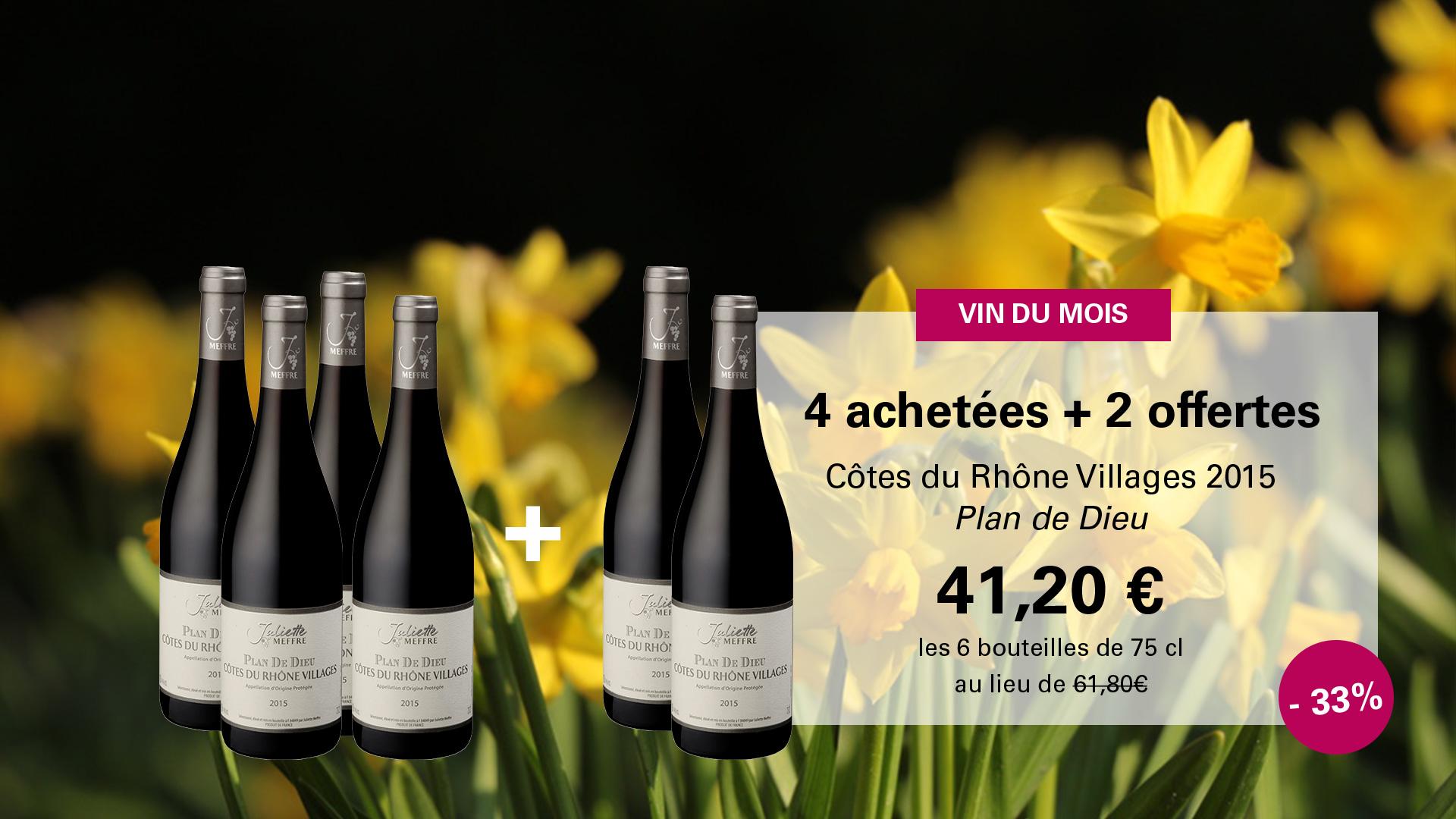 Vin du Mois d'Avril 2018 Côtes du Rhône Villages Plan de Dieu 2015